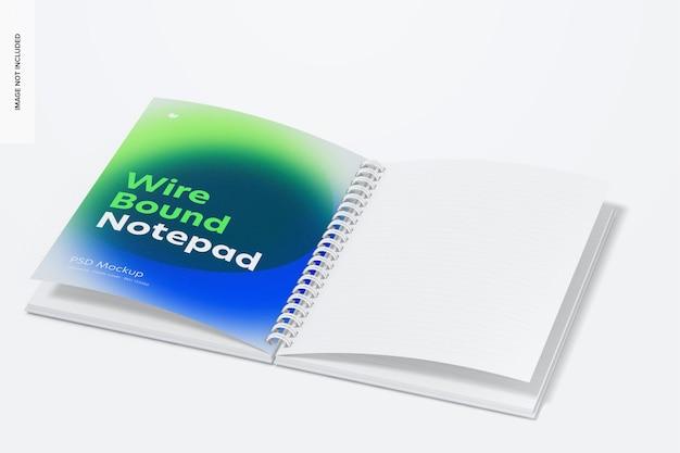 Maquete de bloco de notas encadernado com fio de capa plástica, aberto