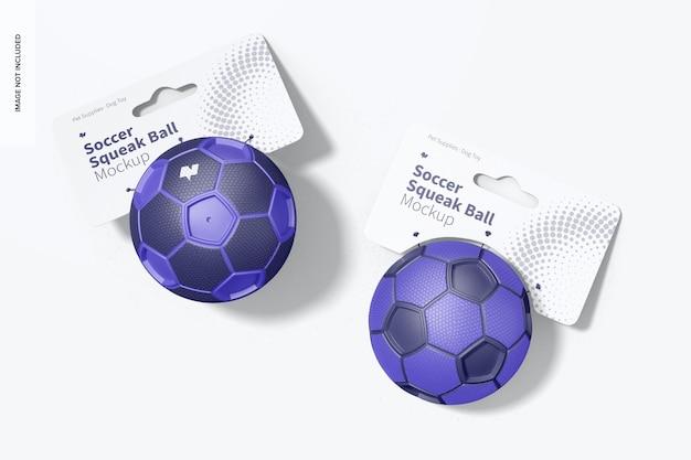 Maquete de bolas de squeak de futebol, vista superior