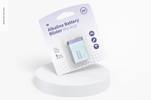 Maquete de bolha de bateria alcalina 9v