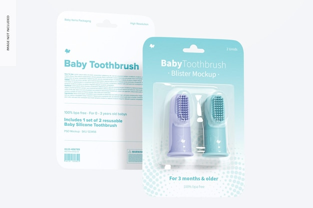Maquete de bolha de escova de dente para bebê, vista frontal e traseira
