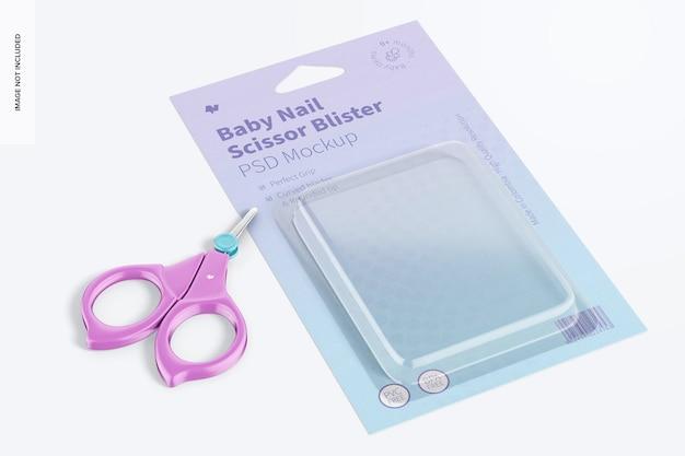 Maquete de bolha de tesoura de unha para bebê, perspectiva