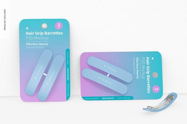 Maquete de bolhas com presilhas para cabelo, inclinado