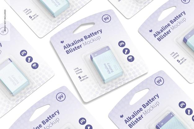 Maquete de bolhas de bateria alcalina 9v