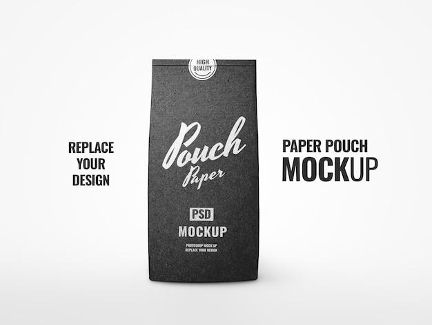 Maquete de bolsa de café preto realista