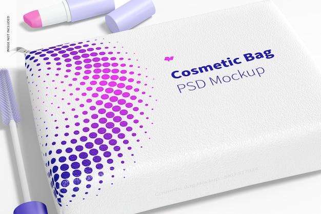 Maquete de bolsa de cosméticos, close-up