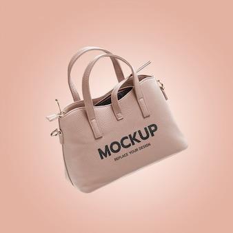 Maquete de bolsa de couro de moda feminina
