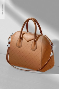 Maquete de bolsa de couro feminina