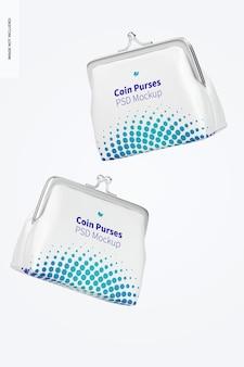 Maquete de bolsa de couro, flutuante