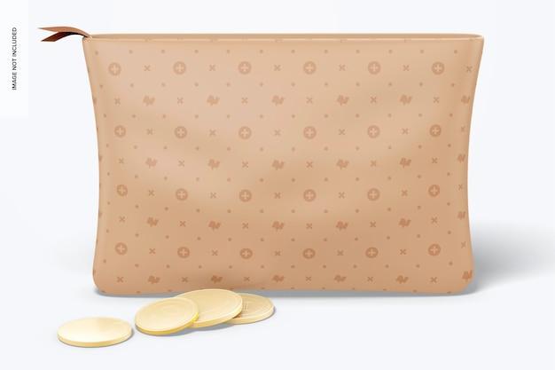 Maquete de bolsa de couro, vista frontal