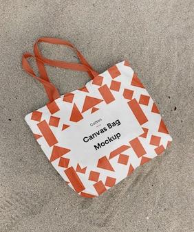 Maquete de bolsa de lona de algodão
