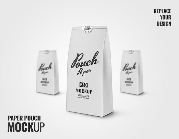 Maquete de bolsa de papel branca maquete renderização em 3d
