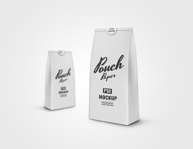 Maquete de bolsa de papel branco realista