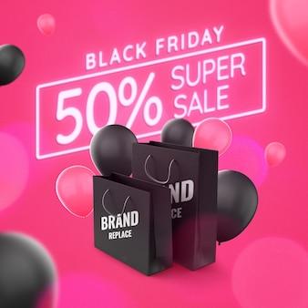 Maquete de bolsa de publicidade de super venda da black friday
