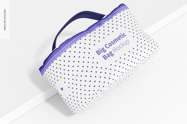 Maquete de bolsa grande de cosméticos, vista superior