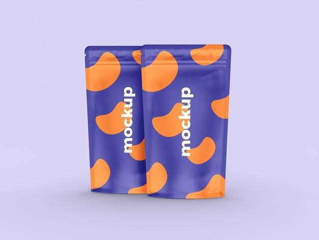 Maquete de bolsa realista em pé