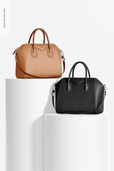 Maquete de bolsas de couro femininas