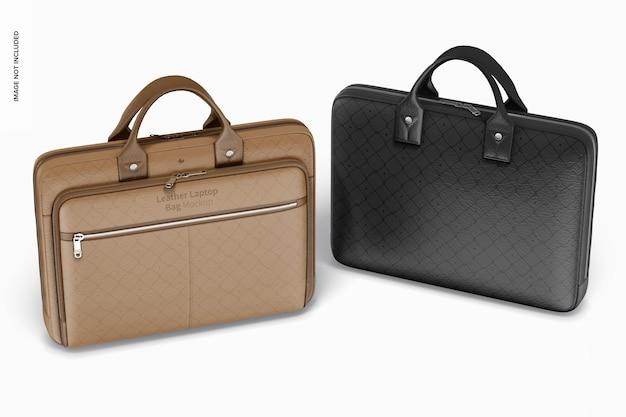 Maquete de bolsas de couro para laptop, vista frontal