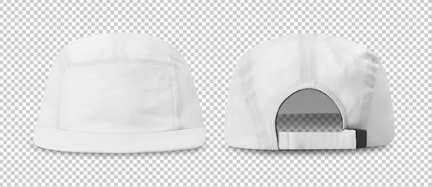 Maquete de boné de beisebol branco frente e vista traseira, modelo