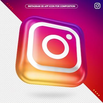 Maquete de botão girado do aplicativo instagram 3d