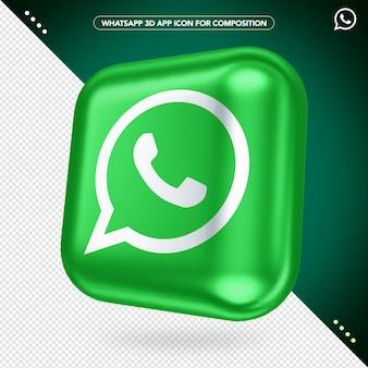 Maquete de botão girado do aplicativo whatsapp 3d