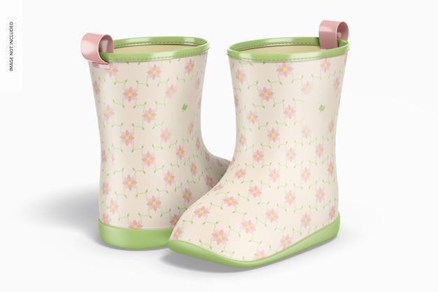 Maquete de botas de chuva infantil, vista traseira