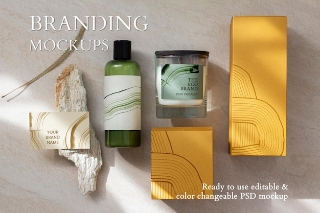 Maquete de branding de embalagem abstrata psd para marcas aromáticas