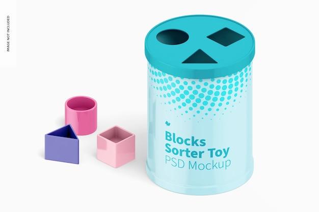 Maquete de brinquedo do classificador de blocos, vista isométrica