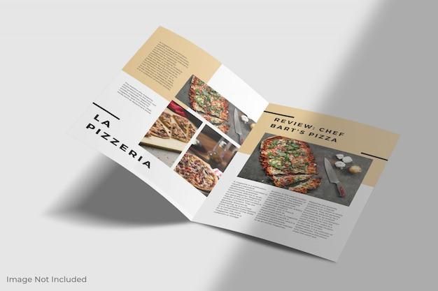 Maquete de brochura a4 com duas dobras e sombra