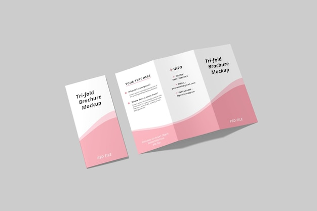 Maquete de brochura a4 com três dobras em renderização 3d com vista de alto ângulo