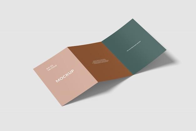 Maquete de brochura a4 dobrável em três partes