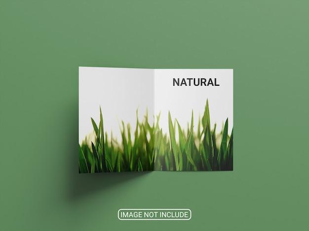 Maquete de brochura com duas dobras de vista superior isolada