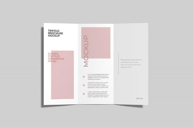 Maquete de brochura com três dobras a4 top angel view