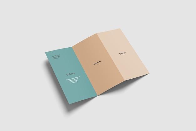 Maquete de brochura com três dobras a4 vista de alto ângulo