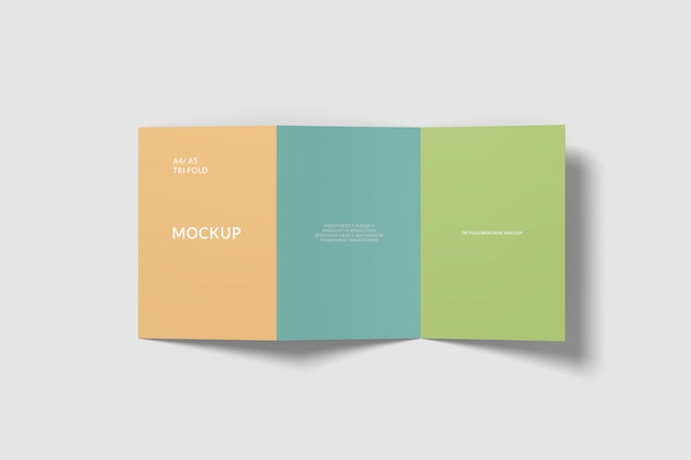 Maquete de brochura com três dobras a4
