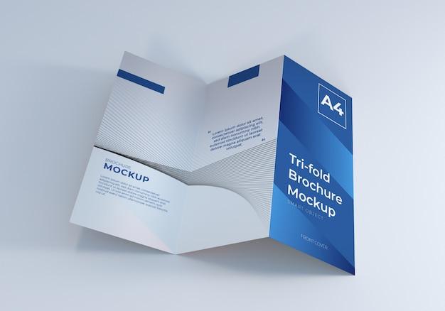 Maquete de brochura com três dobras aberta