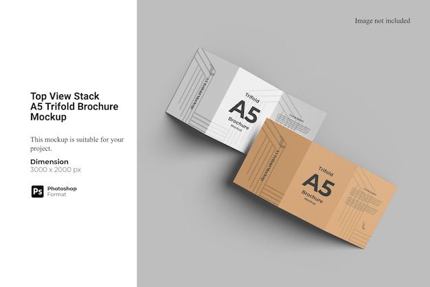 Maquete de brochura com três dobras da pilha a5 da parte superior