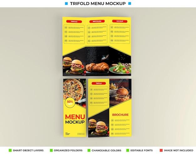 Maquete de brochura com três dobras e conceito de restaurante