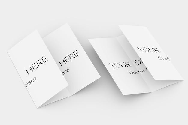 Maquete de brochura com três dobras e renderização em 3d