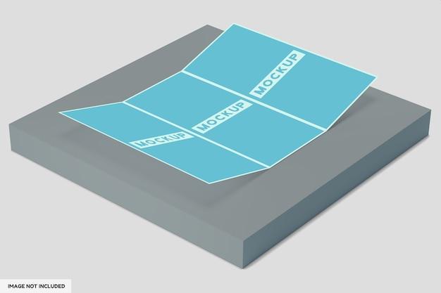 Maquete de brochura de 3 dobras com vista em perspectiva