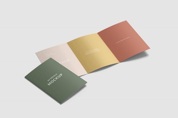 Maquete de brochura de capa a4 e três dobras