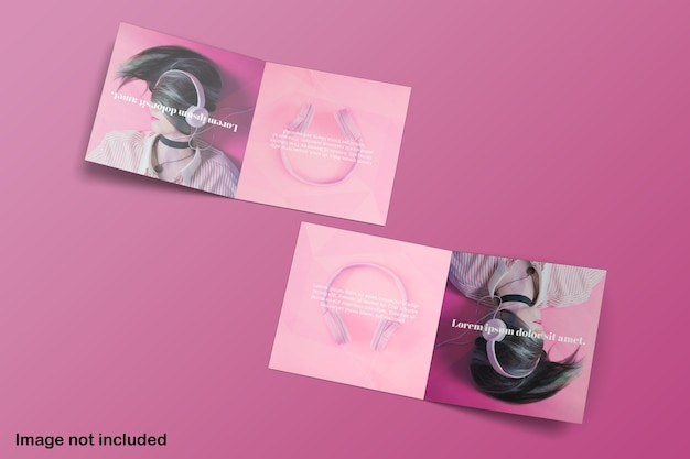 Maquete de brochura de duplo quadrado bifold com vista superior
