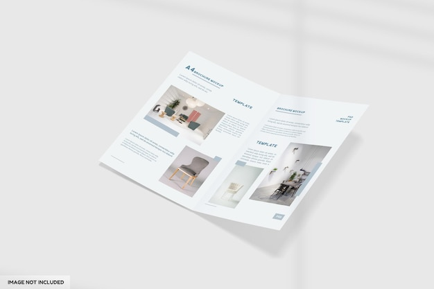 Maquete de brochura de móveis a4 bifold com vista em perspectiva