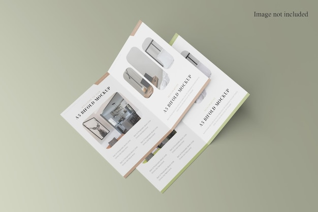 Maquete de brochura de pilha a4 bifold