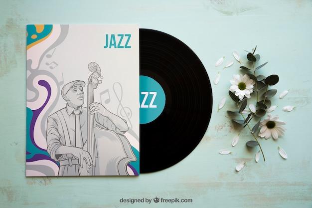 Maquete de brochura de vinil e jazz