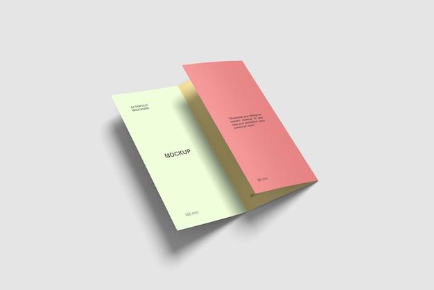 Maquete de brochura dobrável em três partes a4 meio dobrável