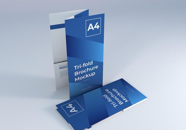 Maquete de brochura limpa com três dobras