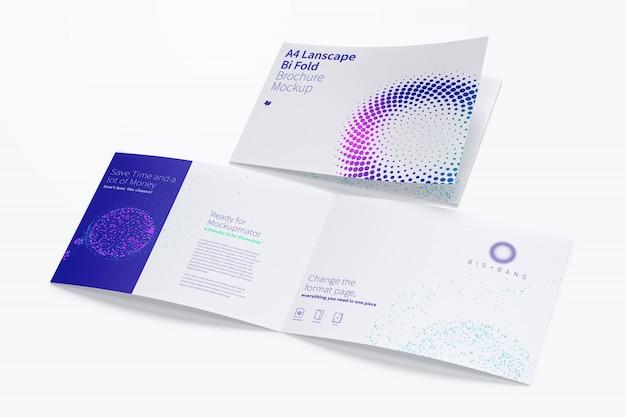Maquete de brochura paisagem dobrada em bi, vista aberta e fechada