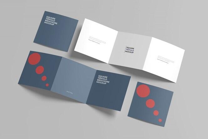 Maquete de brochura quadrada com três dobras conjunto vista de alto ângulo