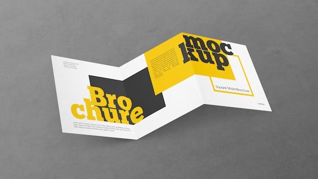 Maquete de brochura quadrada com três dobras