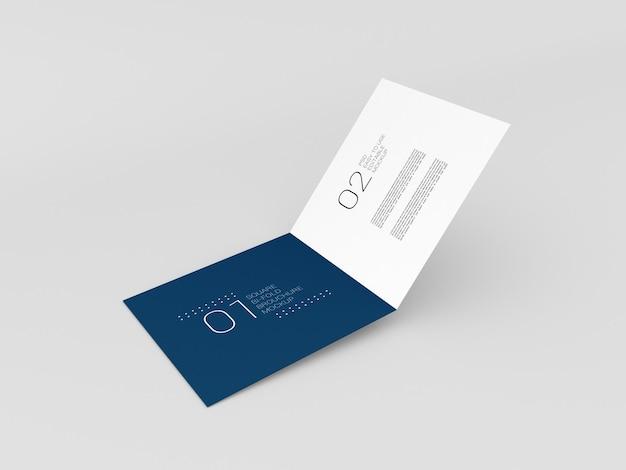 Maquete de brochura quadrada mínima com duas dobras